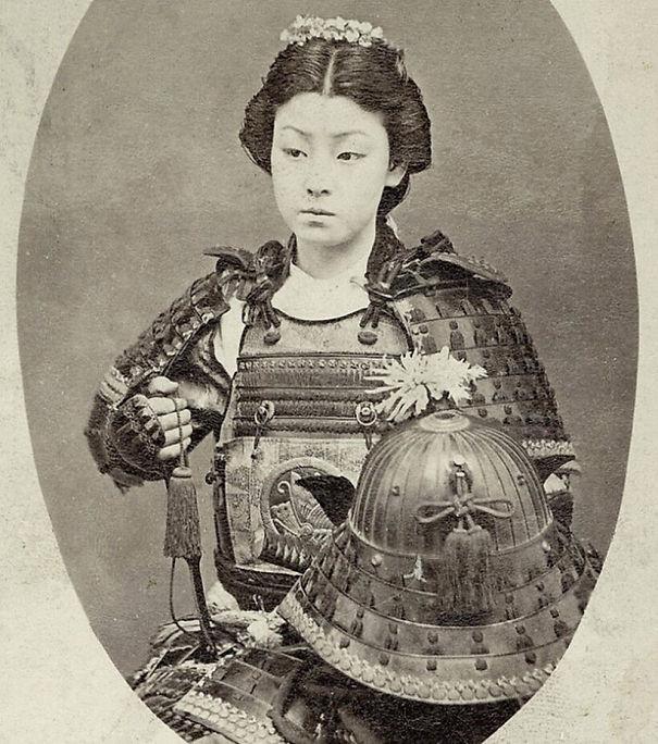 Японская женщина-воин винтаж, женщины, красота, открытки, фото