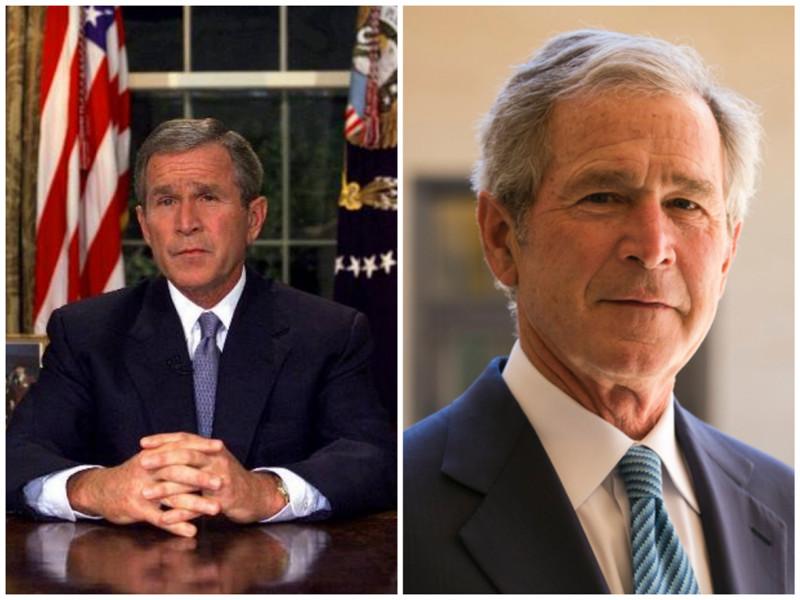 Джордж Буш младший. Бывший президент США. Фото: 2001 - 2009 годы. лица, нервная работа, президенты